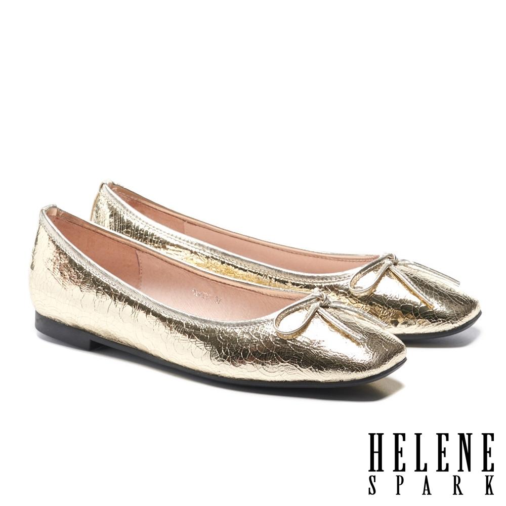 平底鞋 HELENE SPARK 百搭舒適蝴蝶結繫帶全真皮方頭平底鞋-金