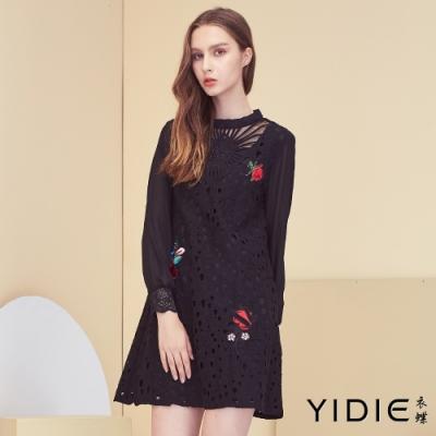 【YIDIE衣蝶】蕾絲簍空立體玫瑰短洋裝