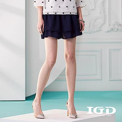 IGD英格麗 雙層荷葉下襬短裙-深藍