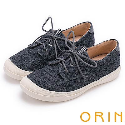 ORIN 潮流同步 百搭素面綁帶休閒平底鞋-灰色