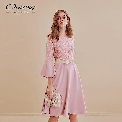 OUWEY歐薇 甜美蕾絲拼接喇叭袖洋裝(粉)