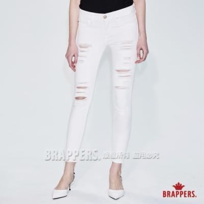 BRAPPERS 女款 LC-Cargo系列-中低腰彈性不規則磨破九分褲-白