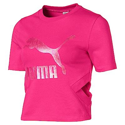 PUMA-女性流行系列經典Logo側挖空短袖T恤-洋桃紅-亞規