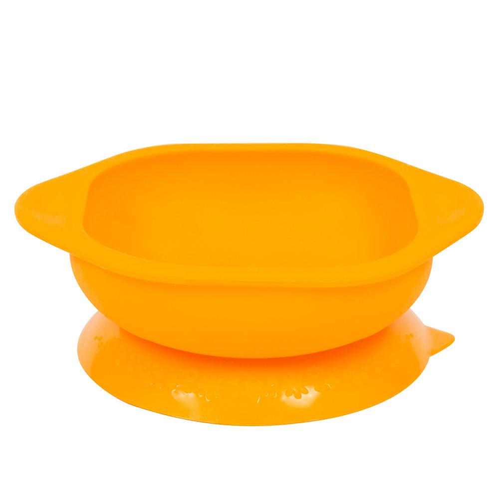 【MARCUS&MARCUS】動物樂園矽膠防漏幼兒學習吸盤碗-長頸鹿(黃)