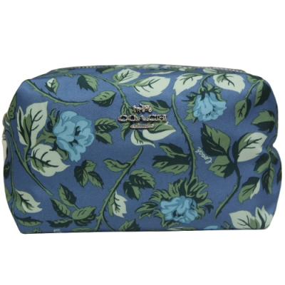 COACH 睡玫瑰印花尼龍拉鍊化妝包-藍色