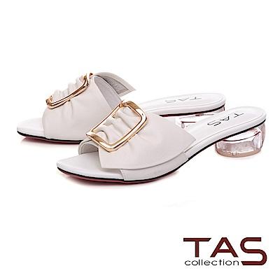 TAS 反摺抓皺扣飾牛皮涼拖鞋-閃耀白