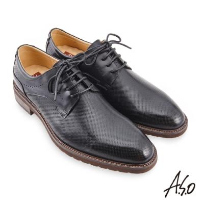 A.S.O 職場通勤 職人通勤刷色壓紋德比鞋-黑