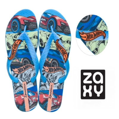 Zaxy HOT WHEELS 汽車印花夾腳拖鞋 兒童款-藍