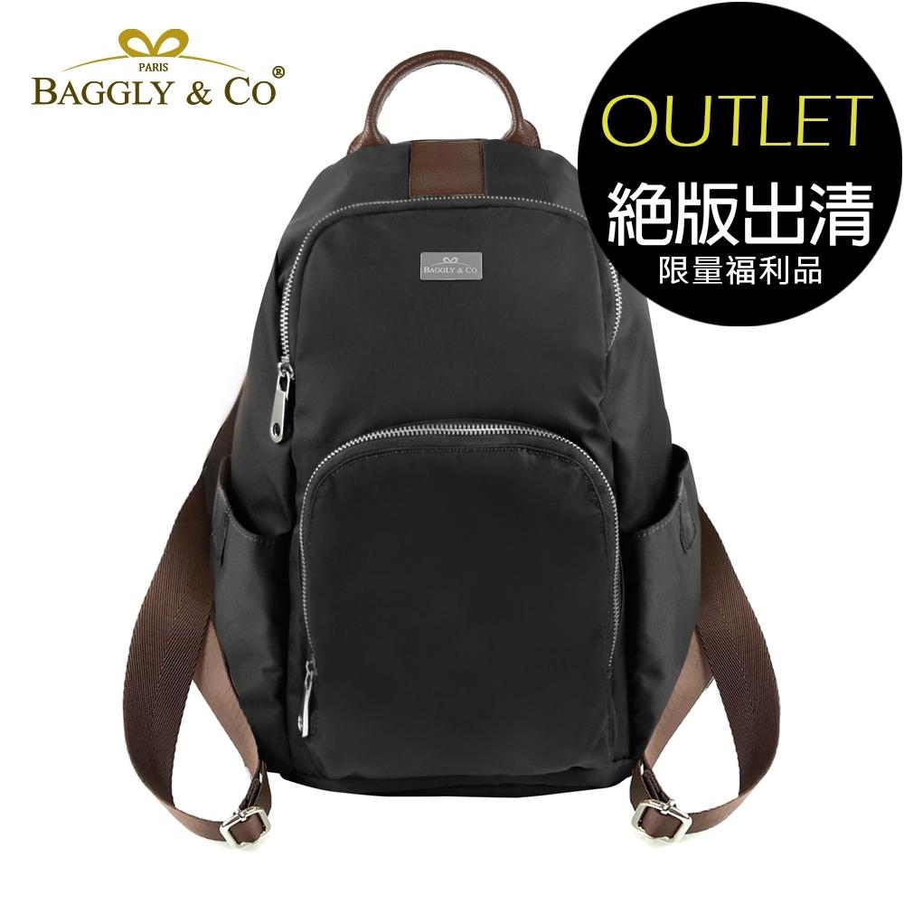 [福利品]【BAGGLY&CO】防盜真皮尼龍後背包春夏色系款(黑色)(絕版出清)