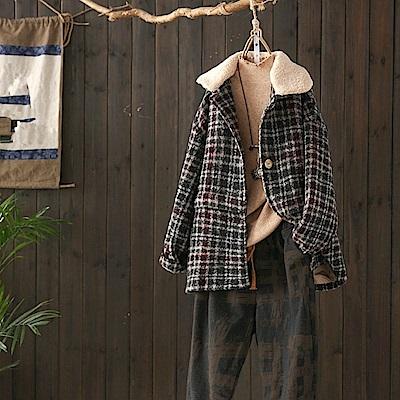 羊羔絨翻領加厚保暖格子毛呢外套呢子大衣-設計所在