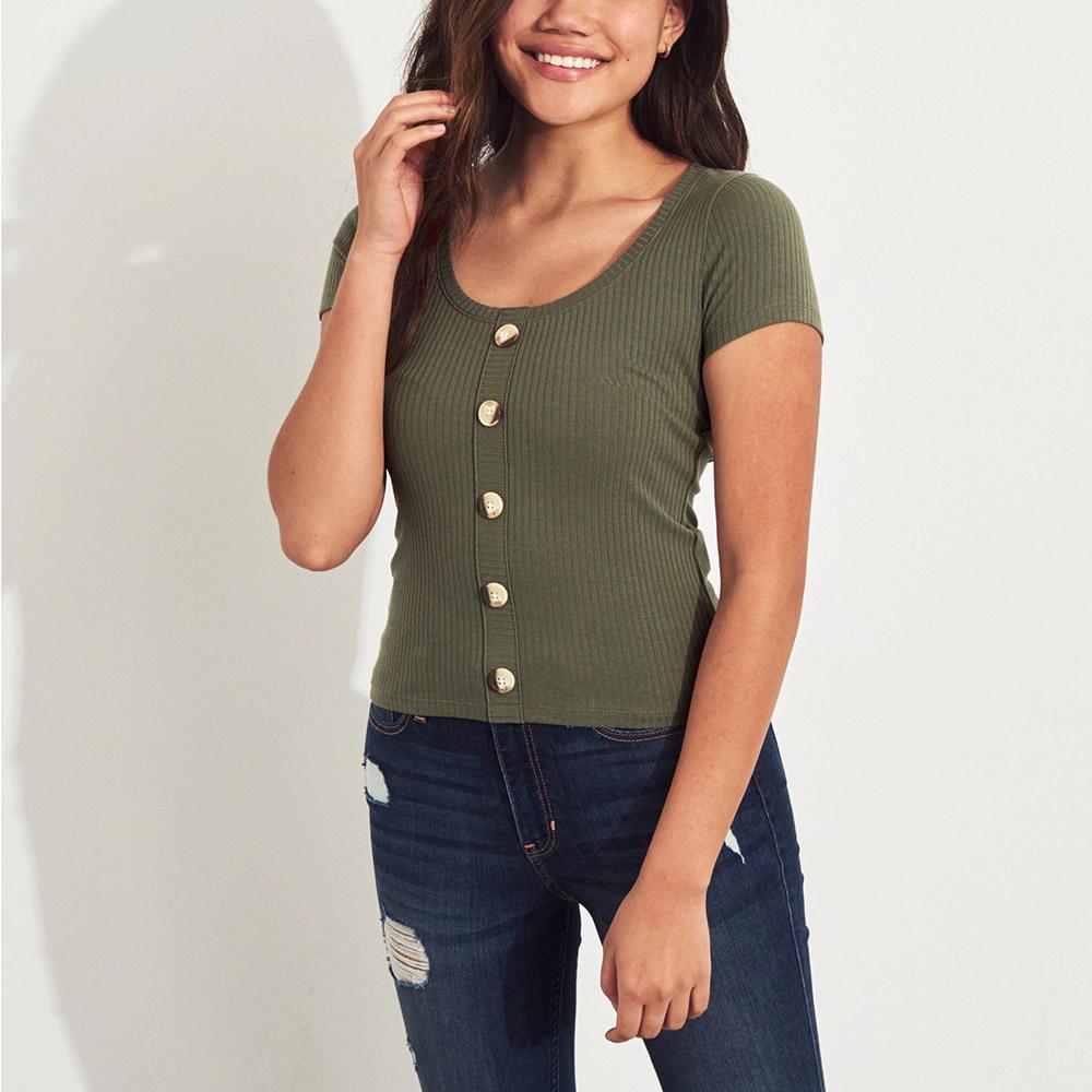 海鷗 Hollister HCO 經典海鷗裝飾釦合身亨利短袖T恤(女)-墨綠色