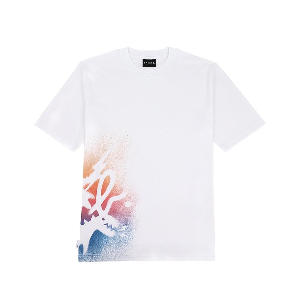 agnes b. - Sport b. 塗鴉恐龍印花圓領短袖上衣(男)(白)