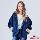 BRAPPERS 女款 連帽寬版落肩牛仔外套-藍