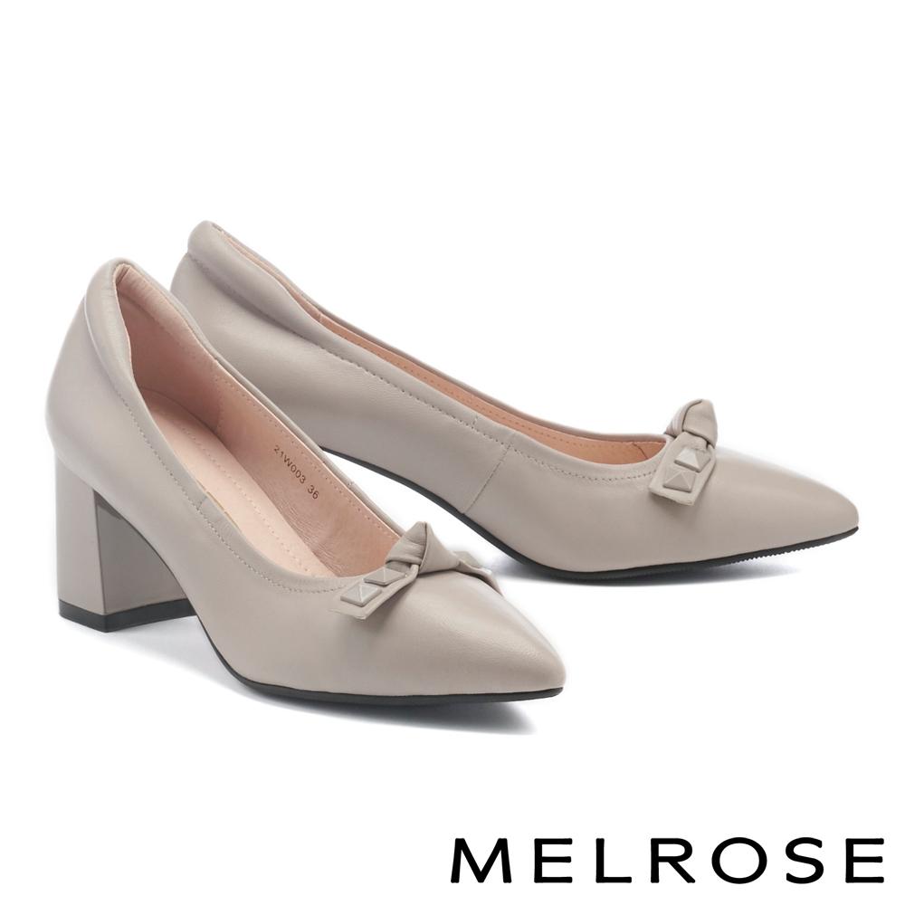高跟鞋 MELROSE 時髦個性扭結鉚釘全真皮尖頭高跟鞋-灰