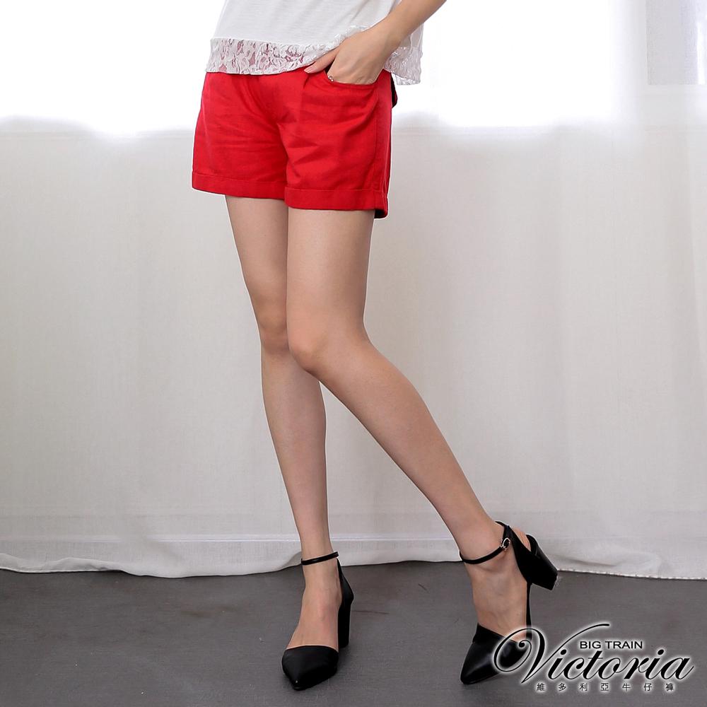 Victoria 中高腰棉麻色染短褲-女-紅