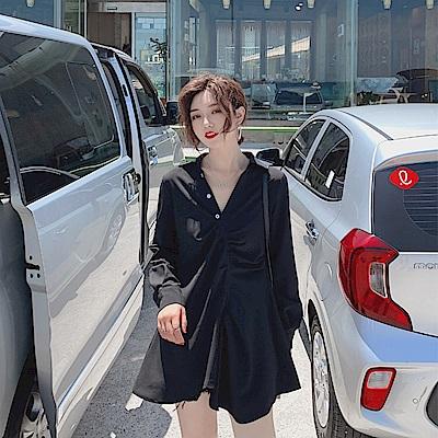 DABI 韓系復古襯衫裙不規則襯衫黑色短版長袖洋裝