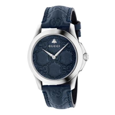 GUCCI G-TIMELESS獨特時尚皮帶腕錶38mm(YA1264032)
