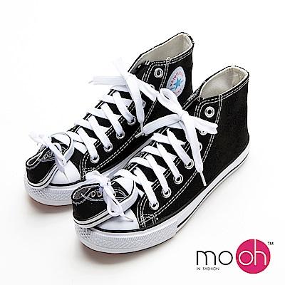 mo.oh-踩到我的腳童趣高筒設計感帆布鞋黑白色