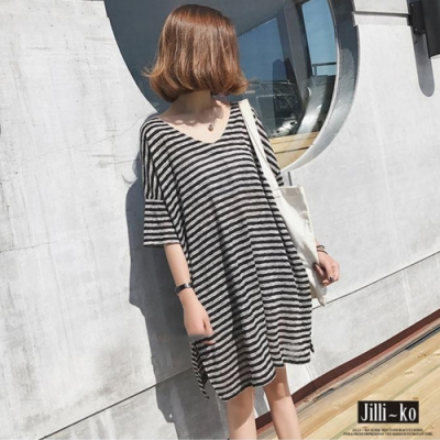JILLI-KO V領條紋寬鬆連身裙- 條紋
