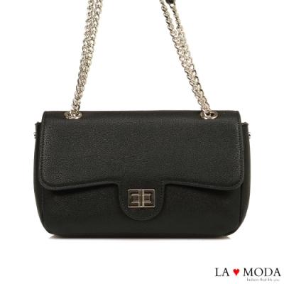 La Moda  完美名牌Look特色旋鈕肩背斜背鍊帶包(黑)