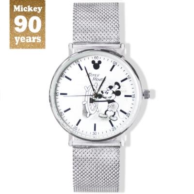 DISNEY迪士尼90周年紀念系列手錶-Mickey汽船掌舵米奇38mm米蘭帶