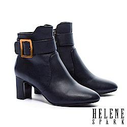 短靴 HELENE SPARK 都市率性金屬方釦全真皮粗高跟短靴-藍
