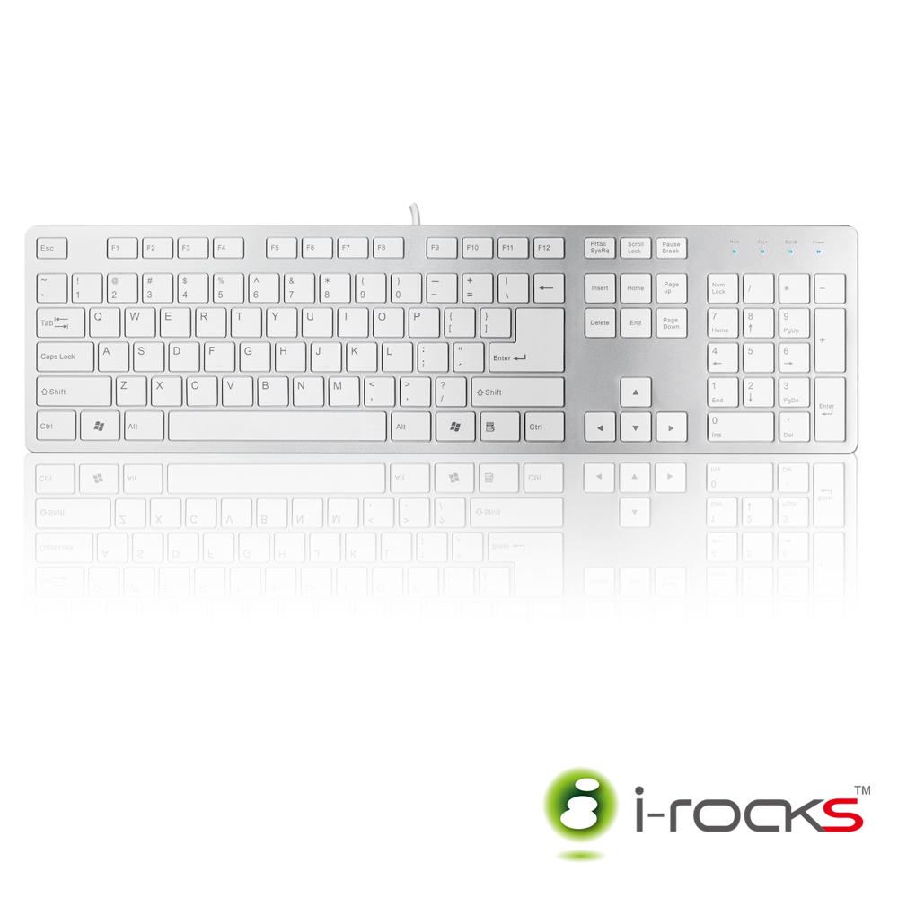 i-Rocks 巧克力超薄鏡面鍵盤_K01WN(銀白)