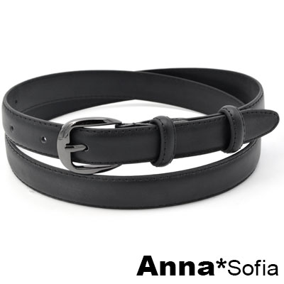 AnnaSofia 中性車線弧釦 二層牛皮真皮腰帶(酷黑系)
