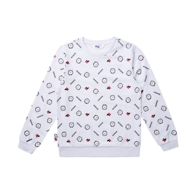 FILA KIDS #WONNIE系列大童圓領上衣-白色1TET-8452-WT