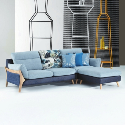 AS-海明威藍色三人沙發+腳椅-262×188×88cm