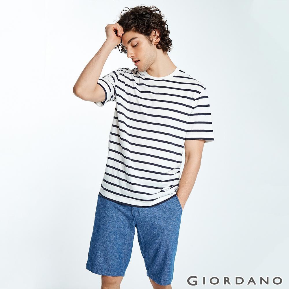 GIORDANO 男裝抽繩腰頭棉麻休閒短褲-92 藍色