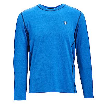 荒野【wildland】男圓領雙色抗UV長袖上衣藍色