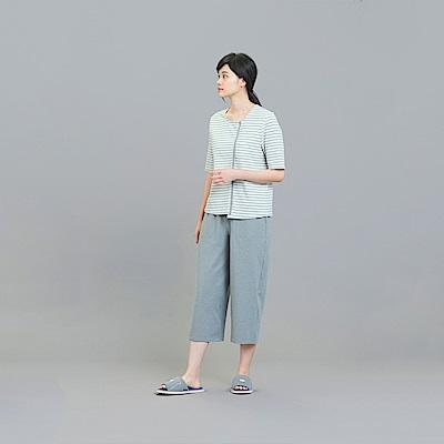 YVONNE素面八分寬褲-灰L