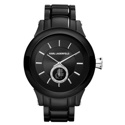 KARL LAGERFELD CHAIN系列鎖定目光時尚設計腕錶-黑