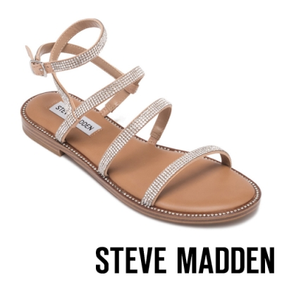 STEVE MADDEN-TRANSPORT-R-夏日時尚款 二字細帶銀鑽繞踝涼拖鞋-銀色