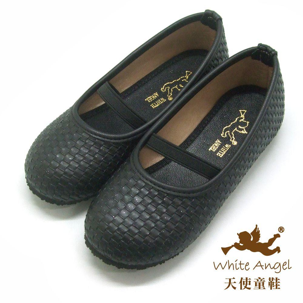 天使童鞋 仿編織素色公主鞋(中-大童)J918-黑