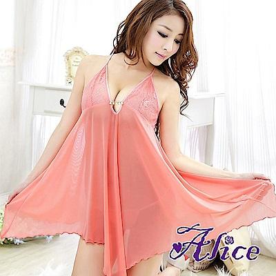 Alice粉色性感高檔露背睡衣裙(AK040)