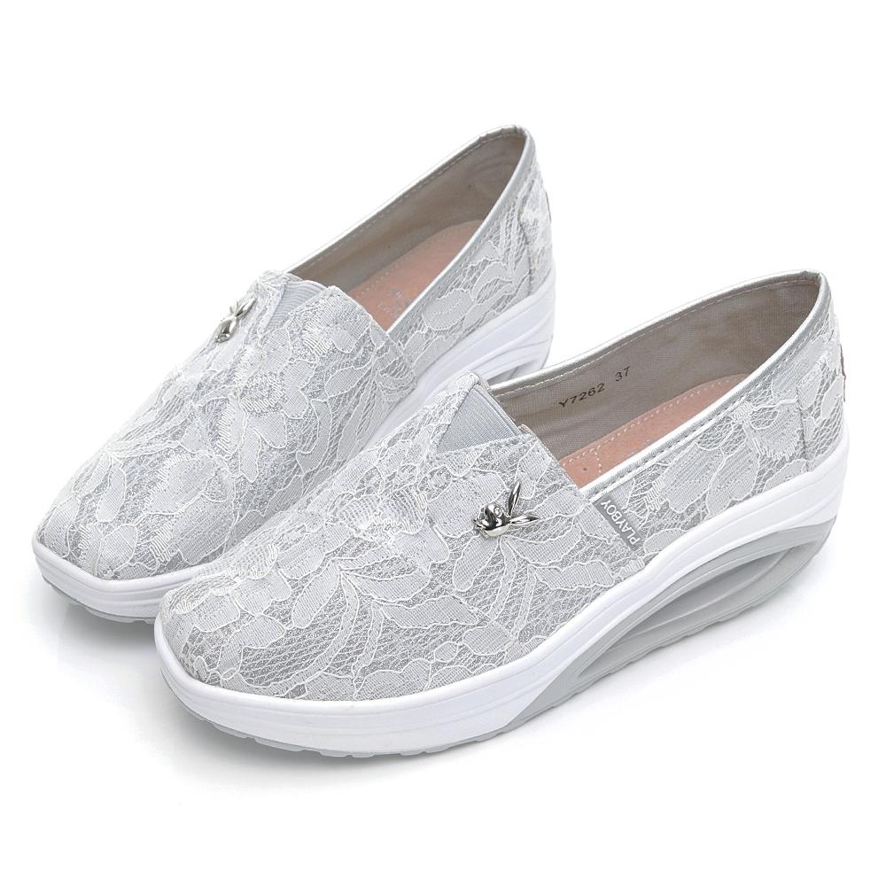 PLAYBOY 浪漫蕾絲 休閒厚底氣墊鞋-白-Y726211