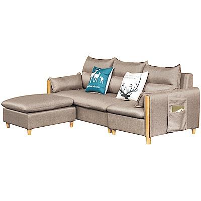 綠活居 沐恩時尚灰亞麻布L型沙發組合(四人座+椅凳)-238x155x84cm免組