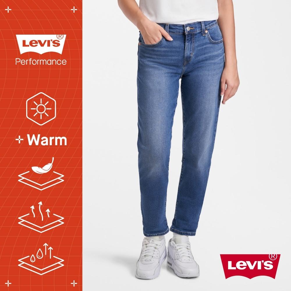 Levis 男友褲 中腰寬鬆版牛仔褲 WARM JEANS 機能保暖內刷毛 中藍刷白 及踝款 彈性布料