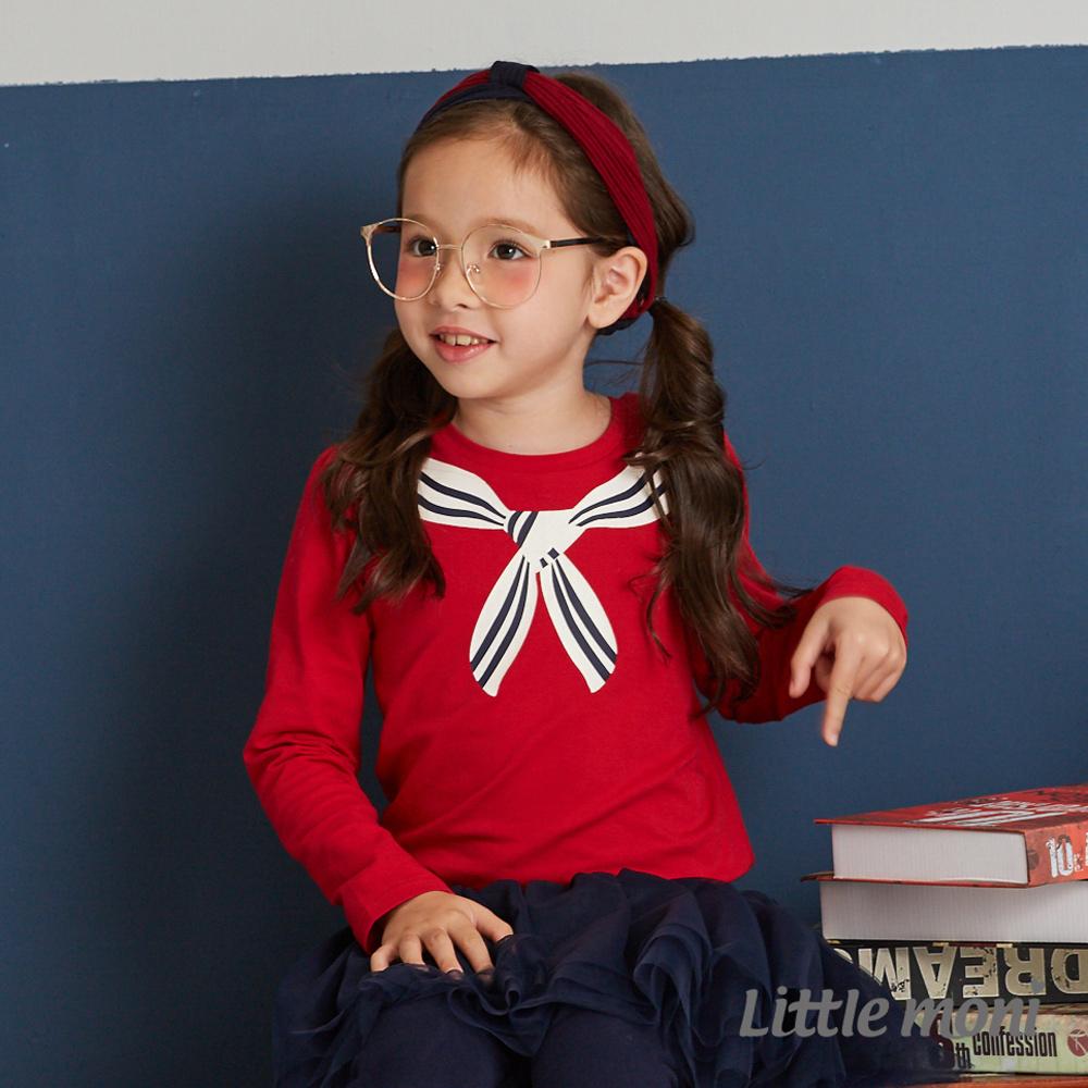 Little moni 學院風印圖上衣(2色可選)