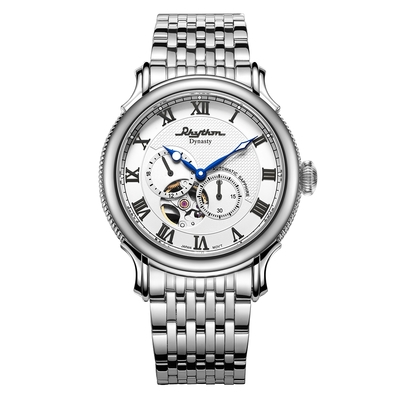 RHYTHM日本麗聲 城市美學羅馬數字半鏤空自動機械腕錶-白/52mm