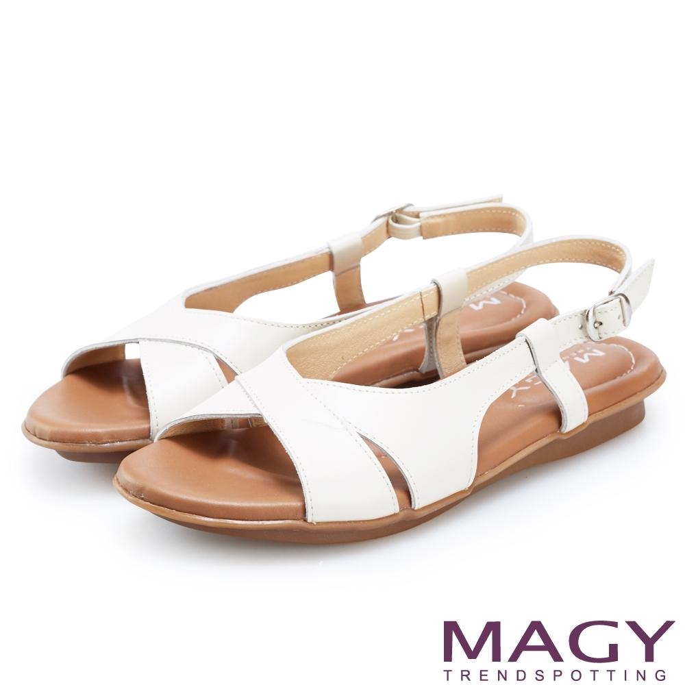 MAGY 嚴選牛皮交叉造型平底涼鞋 米色