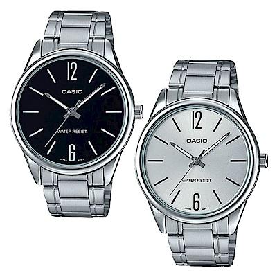 CASIO卡西歐 大錶面鋼帶指針男錶(MTP-V005D)-銀框/47mm