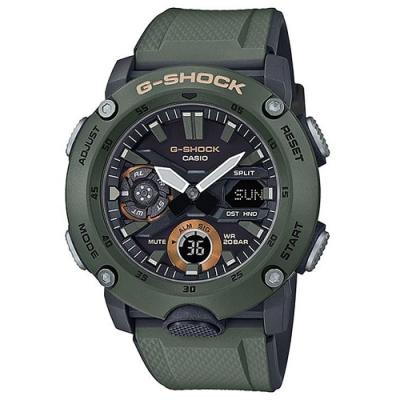 G-SHOCK 引領潮流碳纖維防護設計休閒腕錶-綠(GA-2000-3A)51.2mm