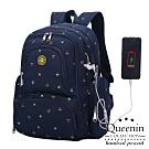 DF Queenin日韓 - 熱銷推薦款升級USB大容量多口袋後背包媽咪包-共4色