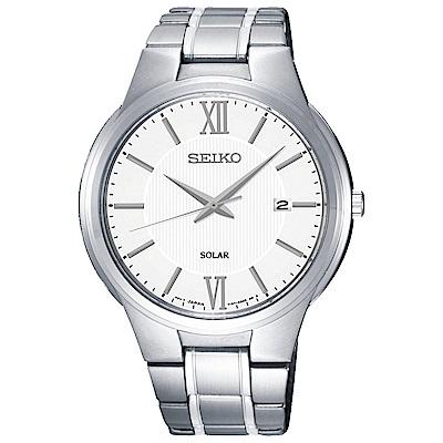 SEIKO 商務風太陽能石英腕錶(SNE385P1)白-/41mm