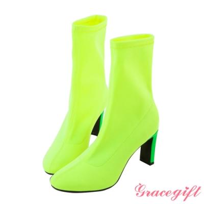 Grace gift X 許允樂-聯名視覺詐欺人氣襪靴 螢光黃