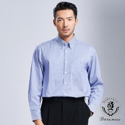 BARONECE 百諾禮士 簡約商務直條襯衫_藍白(618402-09)