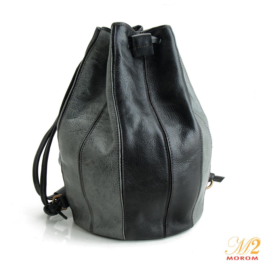M2原皮手作工藝 真皮都會獨特造型後背包(灰色)
